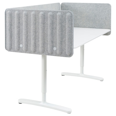 BEKANT Scrivania con schermo divisorio, bianco/grigio, 160x80 48 cm
