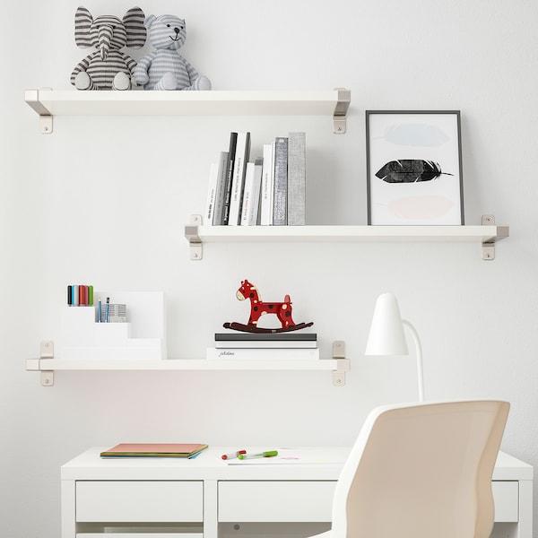 BERGSHULT / GRANHULT Combinazione di mensole, bianco/nichelato, 80x20 cm