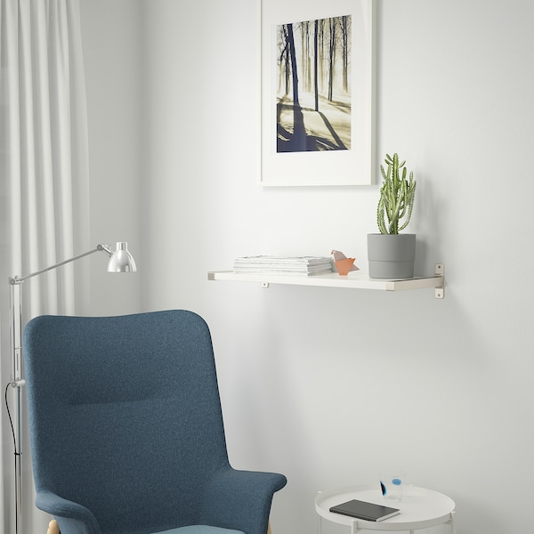 BERGSHULT / GRANHULT Mensola e staffe, bianco/nichelato, 80x30 cm