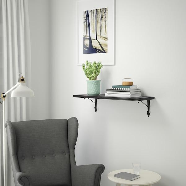 BERGSHULT / KROKSHULT Mensola e staffe, marrone-nero/antracite, 80x30 cm