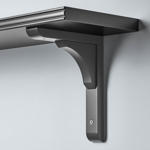 BERGSHULT / RAMSHULT mensola e staffe grigio scuro 120 cm 20 cm