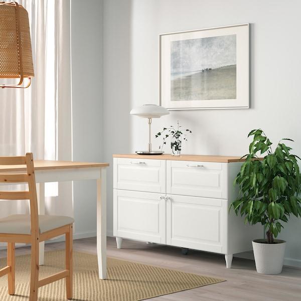 BESTÅ Combinazione + ante/cassetti, bianco/Smeviken/Kabbarp bianco, 120x42x76 cm