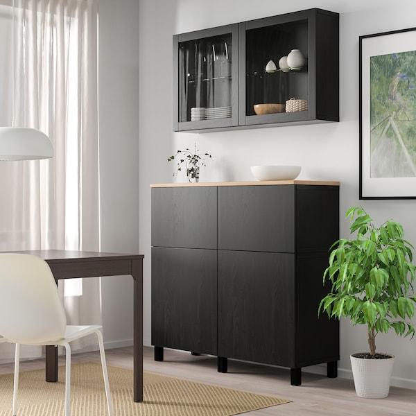BESTÅ Combinazione + ante/cassetti, marrone-nero Lappviken/Sindvik/Stubbarp vetro trasparente marrone-nero, 120x42x240 cm