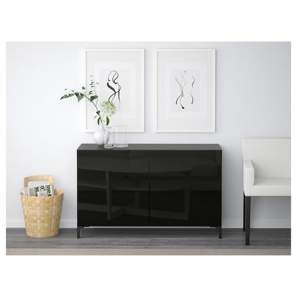 BESTÅ Combinazione + ante/cassetti, marrone-nero/Selsviken lucido/nero, 120x40x74 cm