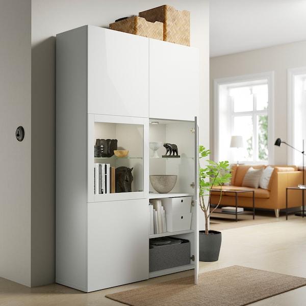 BESTÅ Combinazione con ante a vetro, bianco Lappviken/Sindvik vetro trasparente bianco, 120x42x193 cm