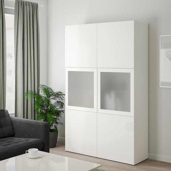 Besta Combinazione Con Ante A Vetro Bianco Selsviken Lucido Vetro Smerigliato Bianco 120x40x192 Cm Ikea It