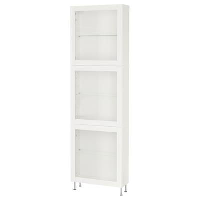 BESTÅ Combinazione con ante a vetro, bianco/Sindvik/Stallarp vetro trasparente bianco, 60x22x202 cm