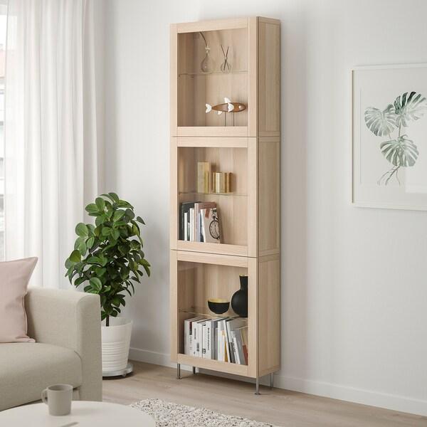 BESTÅ Combinazione con ante a vetro, effetto rovere con mordente bianco/Sindvik/Stallarp vetro effetto rovere bianco, 60x22x202 cm