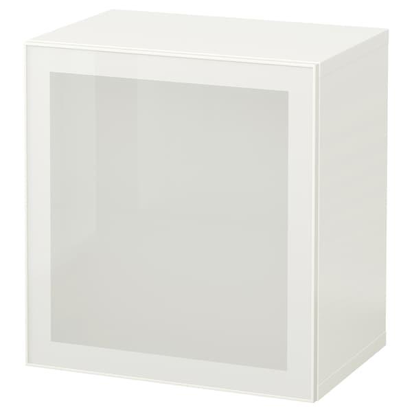 BESTÅ Combinazione di mobili da parete, bianco/Glassvik vetro smerigliato bianco, 60x42x64 cm