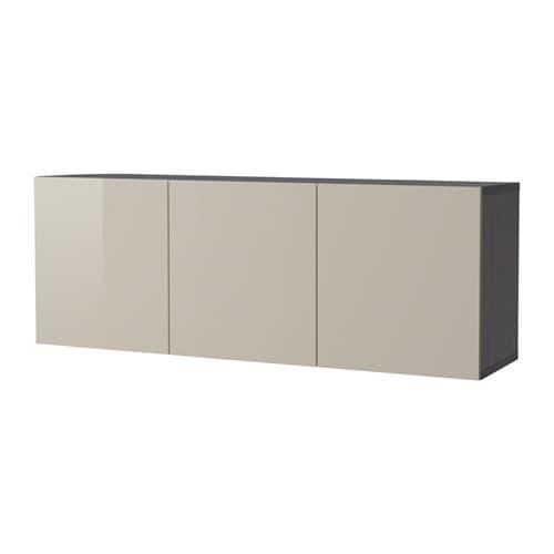 BESTÅ Combinazione di mobili da parete - marrone-nero/Selsviken ...