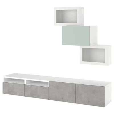 BESTÅ Combinazione TV/ante a vetro, bianco Kallviken/Hjortviken grigio chiaro-verde, 240x42x190 cm