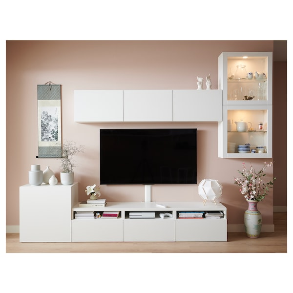 BESTÅ Combinazione TV/ante a vetro, bianco/Lappviken vetro trasparente bianco, 300x42x211 cm