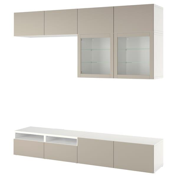 BESTÅ Combinazione TV/ante a vetro, bianco Sindvik/Lappviken grigio chiaro/beige, 240x42x231 cm