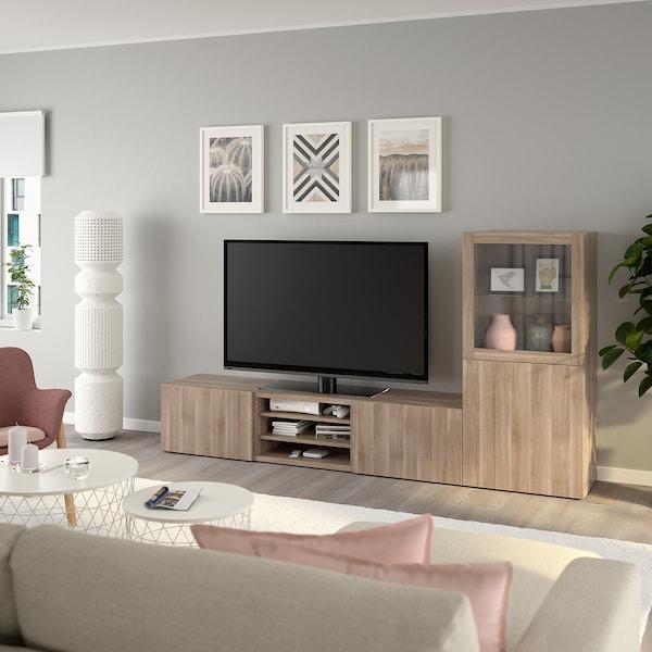 BESTÅ Combinazione TV/ante a vetro, effetto noce mordente grigio/Lappviken vetro effetto noce mordente grigio, 240x42x129 cm