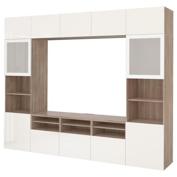 BESTÅ Combinazione TV/ante a vetro, effetto noce mordente grigio/Selsviken lucido/vetro smerigliato bianco, 300x40x230 cm