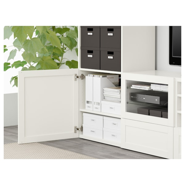 BESTÅ Combinazione TV/ante a vetro, Hanviken/Sindvik vetro trasparente bianco, 240x40x230 cm