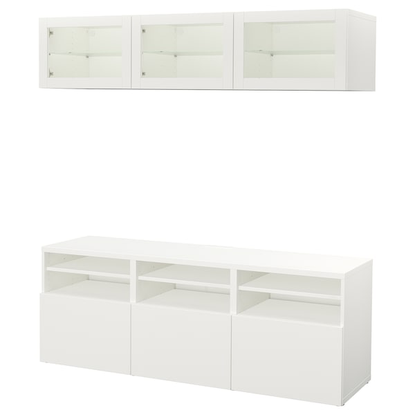 BESTÅ Combinazione TV/ante a vetro, Lappviken/Sindvik vetro trasparente bianco, 180x40x192 cm