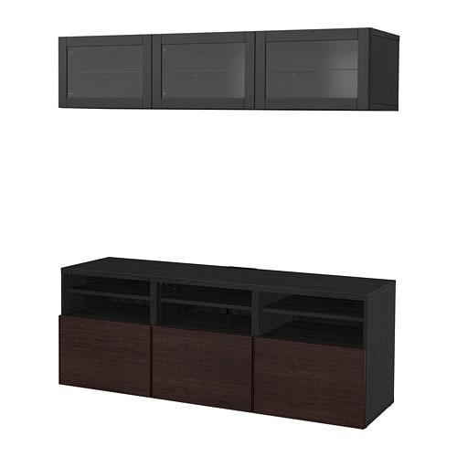 Best combinazione tv ante a vetro marrone nero inviken for Vetro per mobili ikea