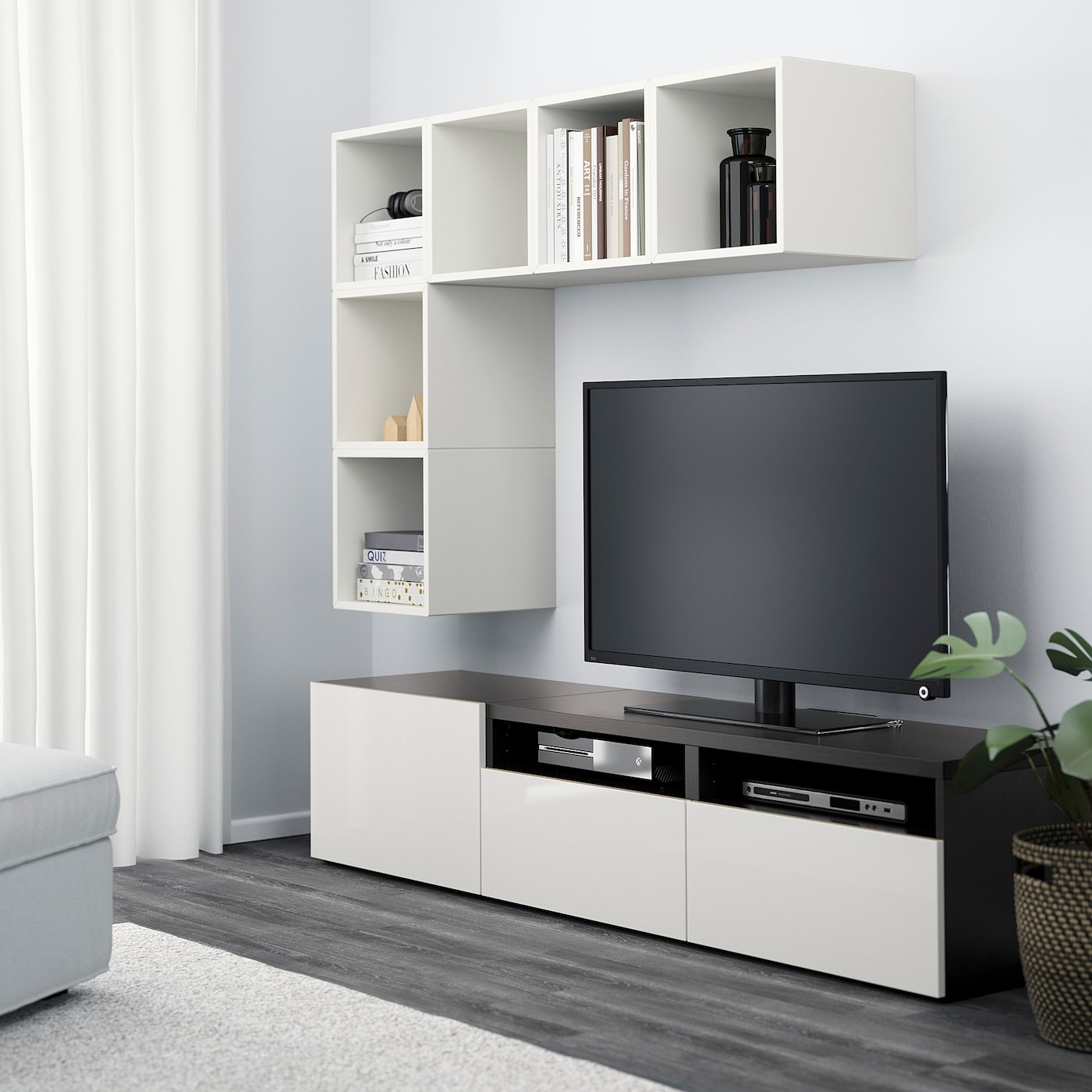 BESTÅ EKET Combinazione di mobili per tv biancomarrone nerolucidobianco 180x40x170 cm