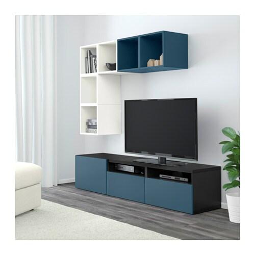 BESTÅ / EKET Combinazione di mobili per TV - bianco/grigio chiaro ...