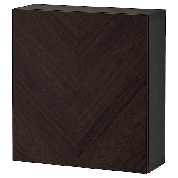 BESTÅ Mobile con anta, marrone-nero Hedeviken/marrone scuro impiallacciatura di rovere/mordente, 60x22x64 cm