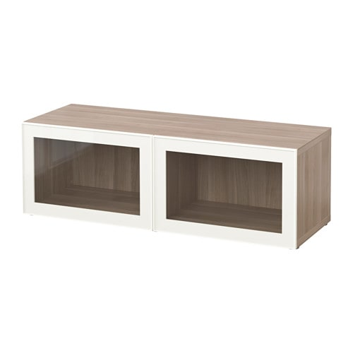 Best mobile con ante a vetro effetto noce mordente grigio glassvik vetro bianco trasparente - Ikea besta mobel ...