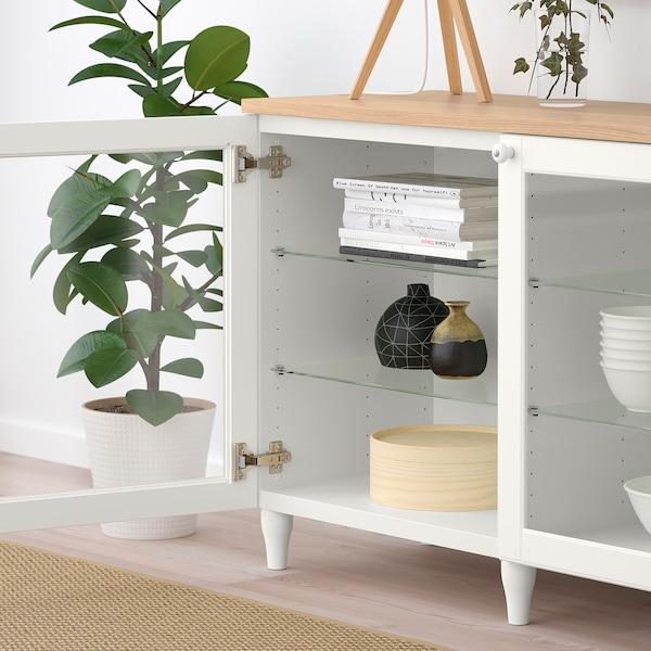 BESTÅ Mobile con ante, bianco/Ostvik/Kabbarp vetro trasparente bianco, 180x42x76 cm