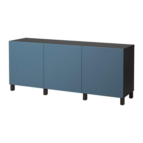 BESTÅ Mobile con ante - marrone-nero/Valviken blu scuro - IKEA