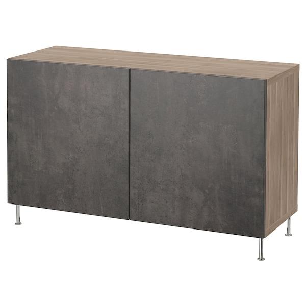 BESTÅ Mobile con ante, effetto noce mordente grigio Kallviken/Stallarp/grigio scuro effetto cemento, 120x40x74 cm