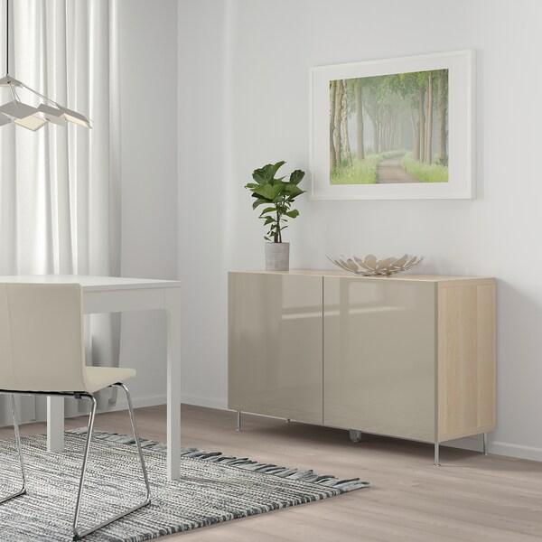 BESTÅ Mobile con ante, effetto rovere mordente bianco/Selsviken/Stallarp lucido/beige, 120x40x74 cm