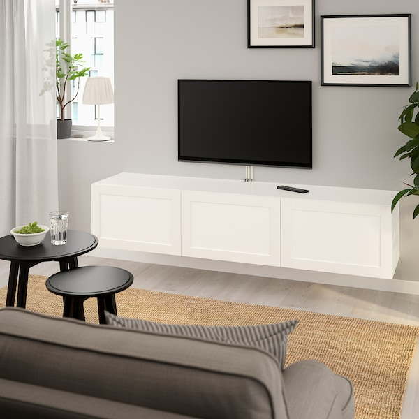 Armadio Con Tv Ikea.Besta Mobile Tv Con Ante Bianco Hanviken Bianco 180x42x38 Cm Ikea It
