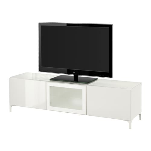 BESTÅ Mobile TV con ante - bianco/Selsviken lucido/vetro ...