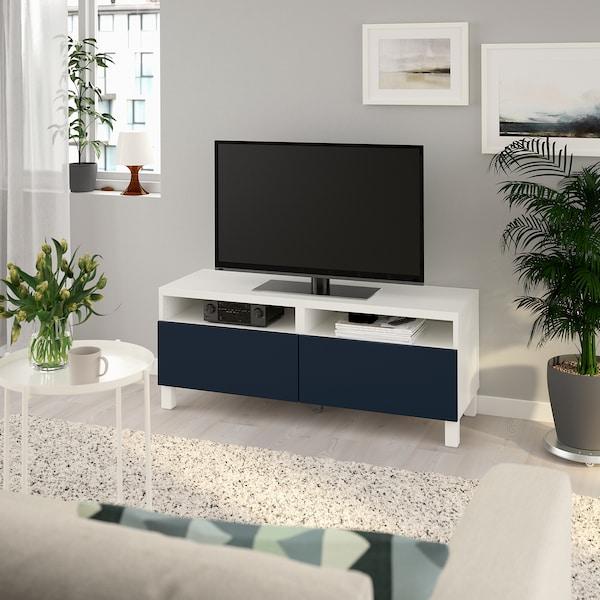 BESTÅ Mobile TV con cassetti, bianco/Notviken/Stubbarp blu, 120x42x48 cm