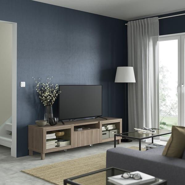 BESTÅ Mobile TV, effetto noce mordente grigio/Lappviken/Stubbarp vetro effetto noce mordente grigio, 180x42x48 cm