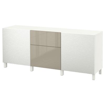 BESTÅ Mobili con cassetti, Laxviken bianco/Selsviken lucido/beige, 180x40x74 cm