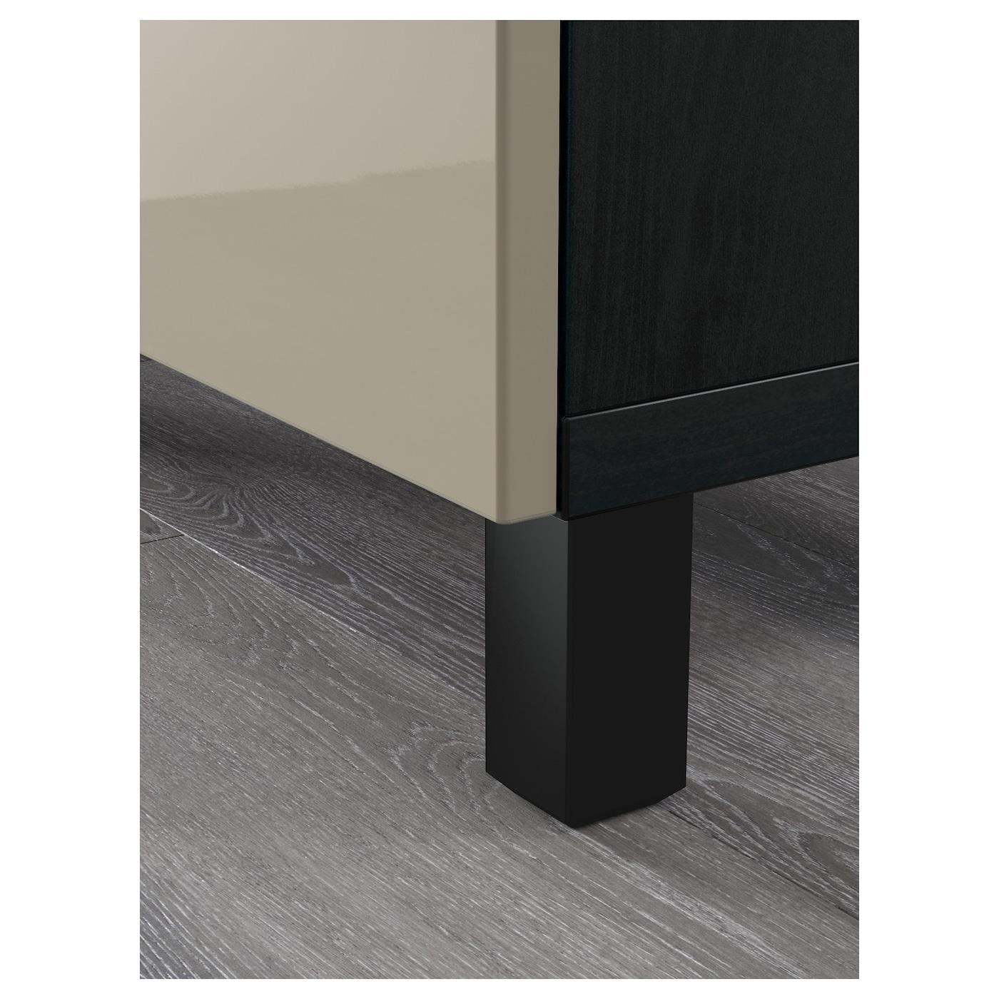BESTÅ Mobili con cassetti marrone nero, Selsviken lucidobeige 180x40x48 cm