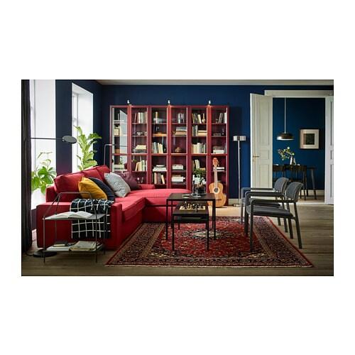 Libreria Billy Ikea Ante.Billy Libreria Con Ante A Vetro Rosso Scuro Ikea