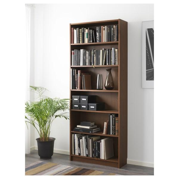 BILLY Libreria, marrone impiallacciatura di frassino, 80x28x202 cm