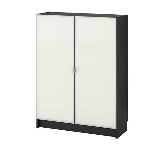 BILLY / MORLIDEN Libreria con ante a vetro - marrone-nero/vetro - IKEA