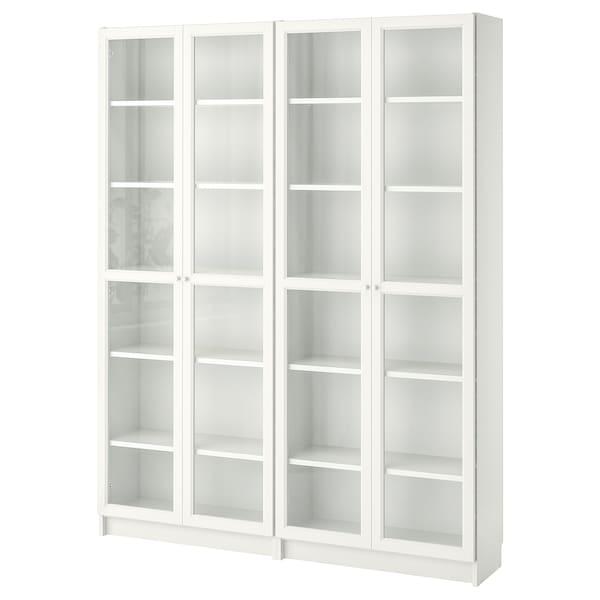 BILLY / OXBERG Libreria, bianco/vetro, 160x30x202 cm