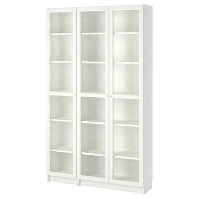 BILLY / OXBERG Libreria con ante a vetro, bianco, 120x30x202 cm