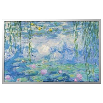 BJÖRKSTA Canvas con cornice, Ninfee II/color alluminio, 118x78 cm