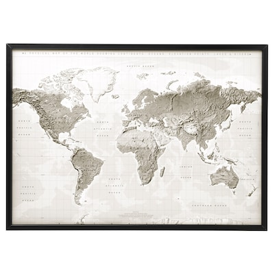 BJÖRKSTA Canvas con cornice, pianeta terra grigio/bianco/nero, 140x100 cm