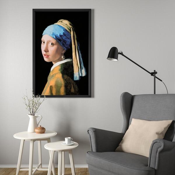 BJÖRKSTA Canvas con cornice, Ragazza con l'orecchino di perla/nero, 78x118 cm