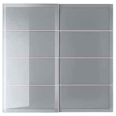 BJÖRNÖYA Coppia di ante scorrevoli, grigio effetto tinto, 200x201 cm
