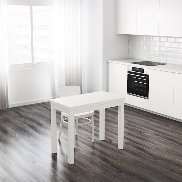 BJURSTA Tavolo allungabile, bianco, 50/70/90x90 cm