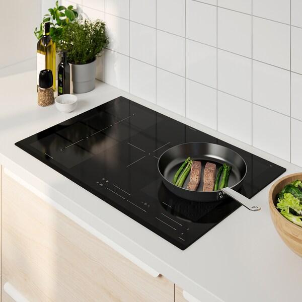 BLIXTSNABB Piano cottura a induzione, IKEA 700 nero, 78 cm