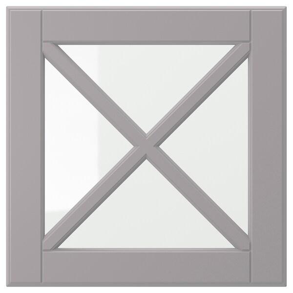 BODBYN Anta a vetro con croce diagonale, grigio, 40x40 cm