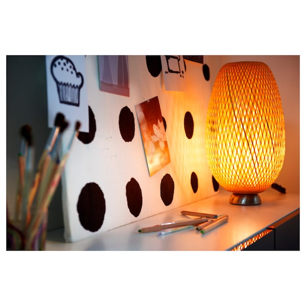 BÖJA Lampada da tavolo, bambù/fatto a mano