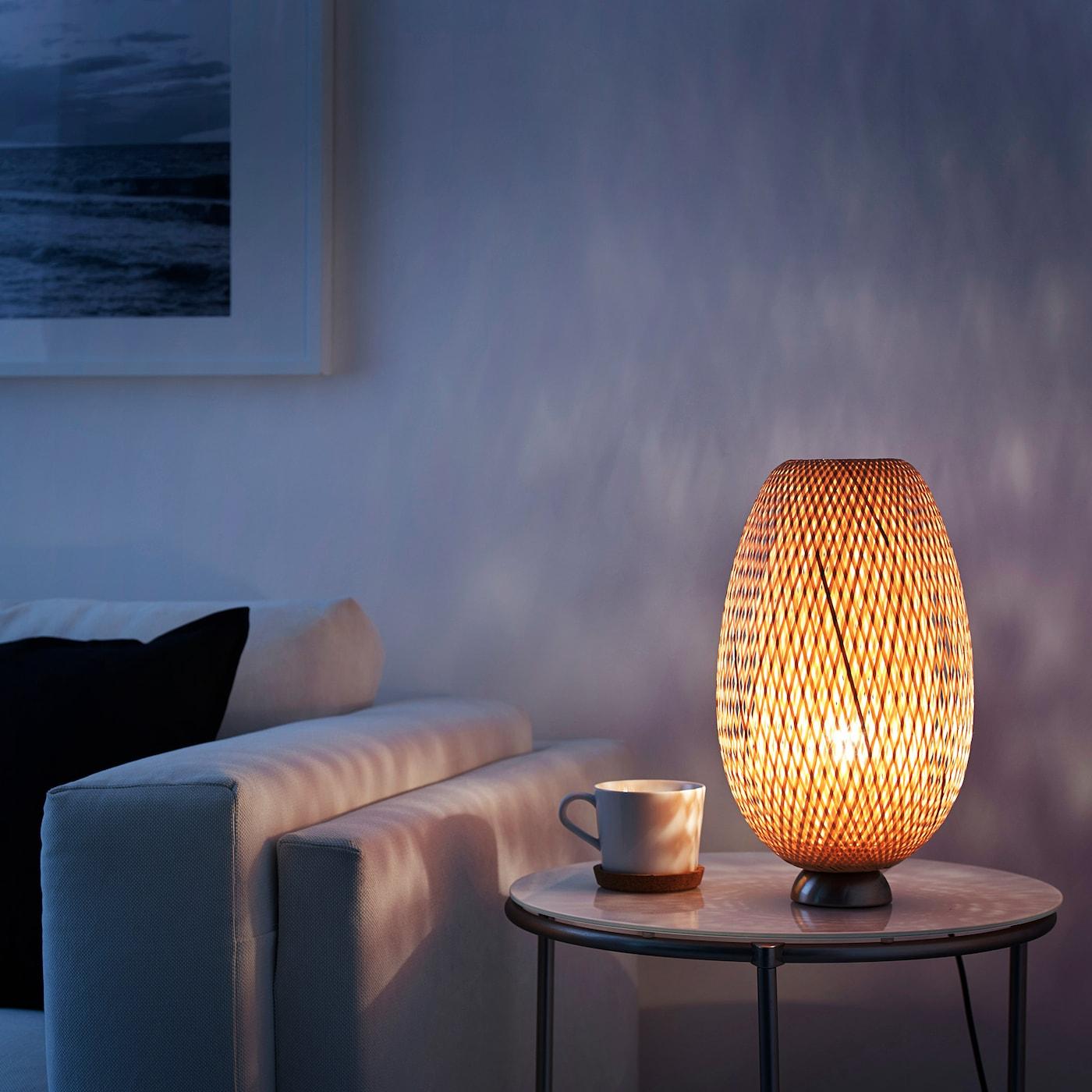 Boja Lampada Da Tavolo Nichelato Bambu Rattan Ikea It
